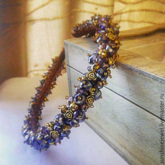 Диадемы, обручи ручной работы. Ярмарка Мастеров - ручная работа. Купить Ободок из фиолетовых бусин и темно-золотых розочек. Handmade.