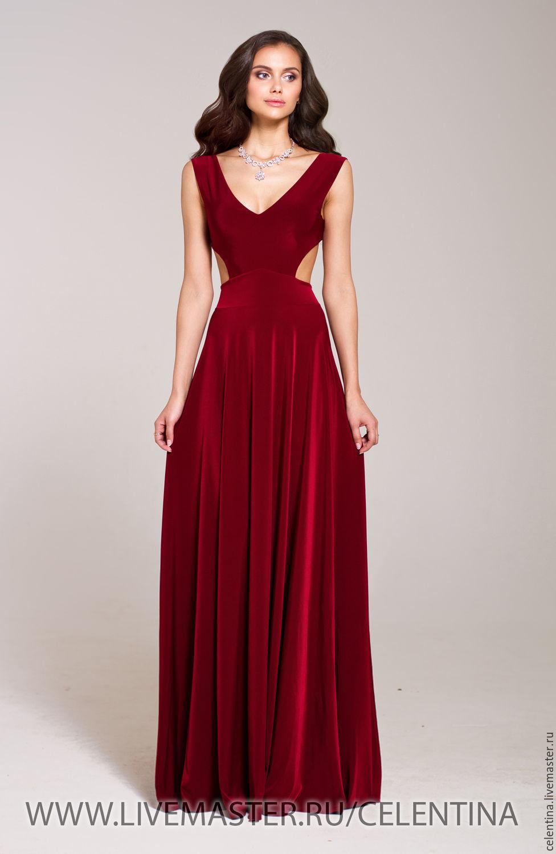 1bd84e0f754 Длинное вечернее платье в пол. Бордовое платье с открытой спиной ...