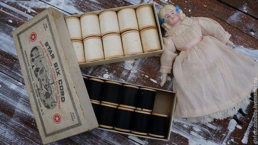 Реставрация. Ярмарка Мастеров - ручная работа. Купить Антикварные нитки для шитья на деревянных катушках. Handmade. Чёрно-белый, хлопок