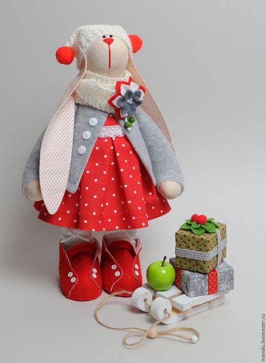 Куклы Тильды ручной работы. Ярмарка Мастеров - ручная работа. Купить Зая с санками.. Handmade. Зайка, серый, санки