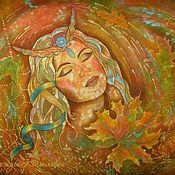 Картины и панно ручной работы. Ярмарка Мастеров - ручная работа Картина на шёлке ОСЕНЬ батик. Handmade.