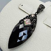 Украшения handmade. Livemaster - original item Silver pendant with mother of pearl and cubic zirconia. Handmade.