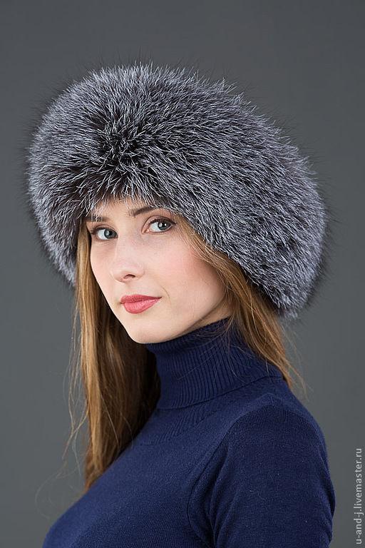 Шапки ручной работы. Ярмарка Мастеров - ручная работа. Купить Меховая шапка Боярка из лисы(blue frost) и каракулем. Handmade.