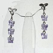 Украшения handmade. Livemaster - original item Earrings with Swarovski crystal Butterfly flight. Handmade.