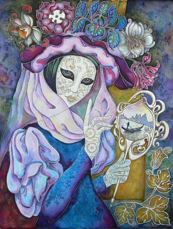 Batik mural `Venice`  Buy panels of batik. Batik panels for the interior. Painting on silk. Olga Pastukhova.