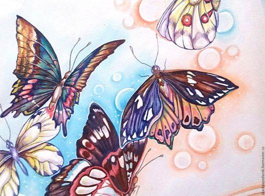 """Картины цветов ручной работы. Ярмарка Мастеров - ручная работа. Купить """"Бабочки счастья"""". Handmade. Открытка ручной работы, акварель"""