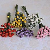 Материалы для творчества ручной работы. Ярмарка Мастеров - ручная работа Розы бутоны 4 мм 7 расцветок 10 штук. Handmade.