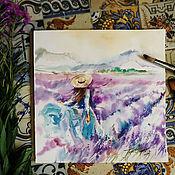Картины и панно handmade. Livemaster - original item Purple Provence - painting watercolor. Handmade.