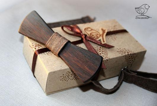 Галстуки, бабочки ручной работы. Ярмарка Мастеров - ручная работа. Купить галстук-бабочка деревянная темная. Handmade. Коричневый