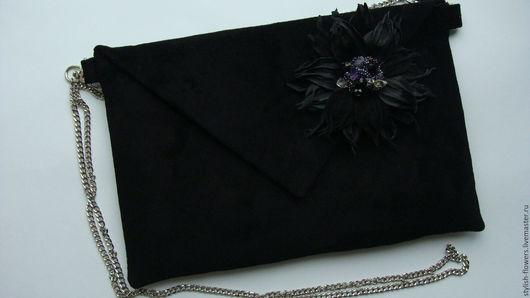 Черный клатч-конверт из натуральной замши. Ярмарка Мастеров - ручная работа. Купить черный клатч-конверт из натуральной замши.