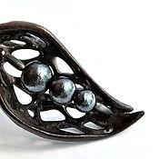 """Украшения ручной работы. Ярмарка Мастеров - ручная работа Кулон """"Черный фарфор и японский жемчуг"""", с крупной цепочкой.. Handmade."""