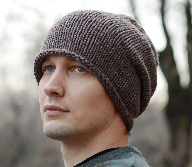 мужская вязаная шапка с помпоном и ушками схема