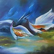Картины и панно handmade. Livemaster - original item Herons in the dance on the lake Original oil Painting. Handmade.