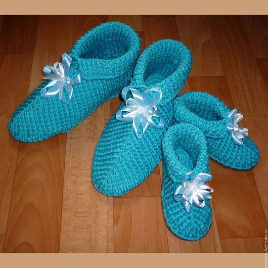 Обувь ручной работы. Ярмарка Мастеров - ручная работа. Купить Вязаные тапочки для мамы и дочки Бирюзовый восторг. Handmade.
