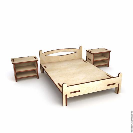 Куклы и игрушки ручной работы. Ярмарка Мастеров - ручная работа. Купить КМ-0000068 Кровать и 2 тумбочки. Handmade.