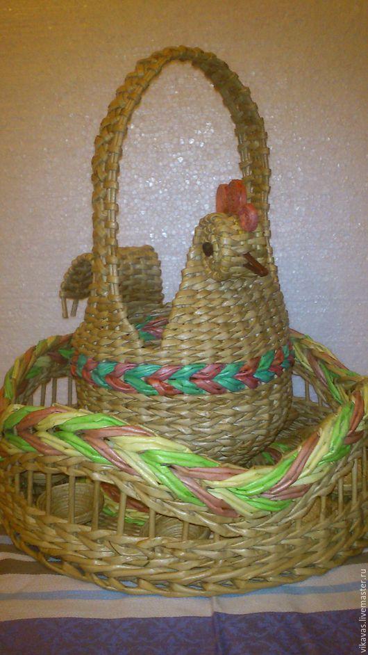 Корзины, коробы ручной работы. Ярмарка Мастеров - ручная работа. Купить Плетеный  пасхальный набор. Handmade. Бежевый, плетение из бумаги
