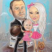 """Картины и панно ручной работы. Ярмарка Мастеров - ручная работа Шарж по фото """"Счастливая семья"""". Handmade."""