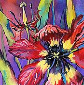 """Картины и панно ручной работы. Ярмарка Мастеров - ручная работа Картина с тюльпаном """"Лиловый Вечер"""" (холст, масло). Handmade."""