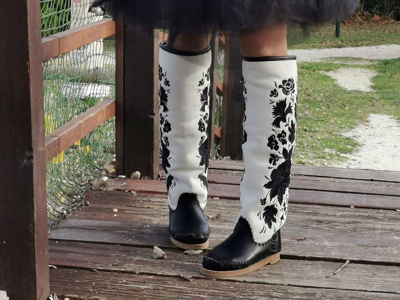 LARRY черно белые / вышитые сапоги на овчине / бесплатная доставка, Ботфорты, Болонья,  Фото №1