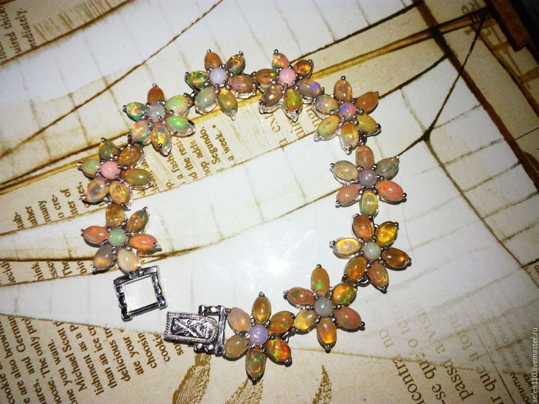 Luxury bracelet 'flower of Fire' opals from Ethiopia, Bead bracelet, Voronezh,  Фото №1