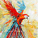 """Абстракция ручной работы. Ярмарка Мастеров - ручная работа. Купить Картина с попугаем """"Летящий в Ореоле Света"""" (холст, масло). Handmade."""