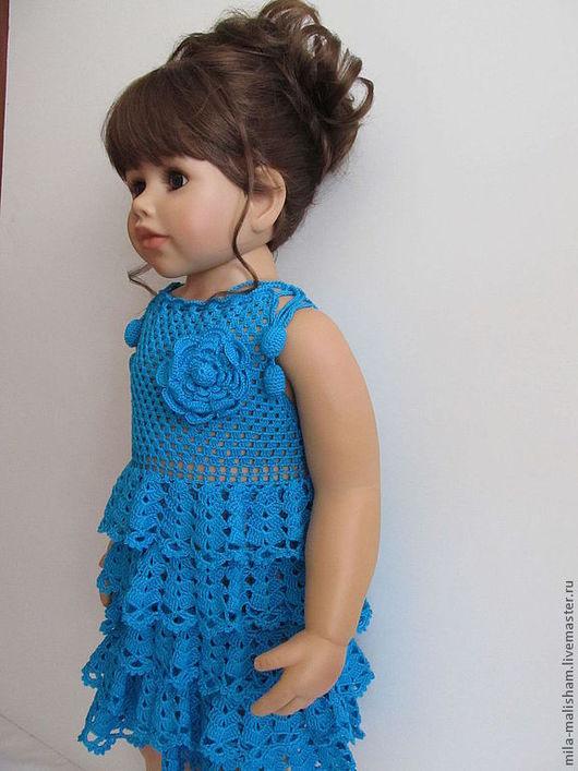 Одежда для девочек, ручной работы. Ярмарка Мастеров - ручная работа. Купить платье Бирюзовая волна. Handmade. Платье крючком, для детей