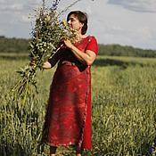 """Одежда ручной работы. Ярмарка Мастеров - ручная работа Валяное платье """"Просто красное"""". Handmade."""
