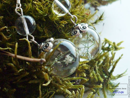 """Серьги ручной работы. Ярмарка Мастеров - ручная работа. Купить Серебряные серьги """"Летний дождь"""" с цветами прозрачные. Handmade."""
