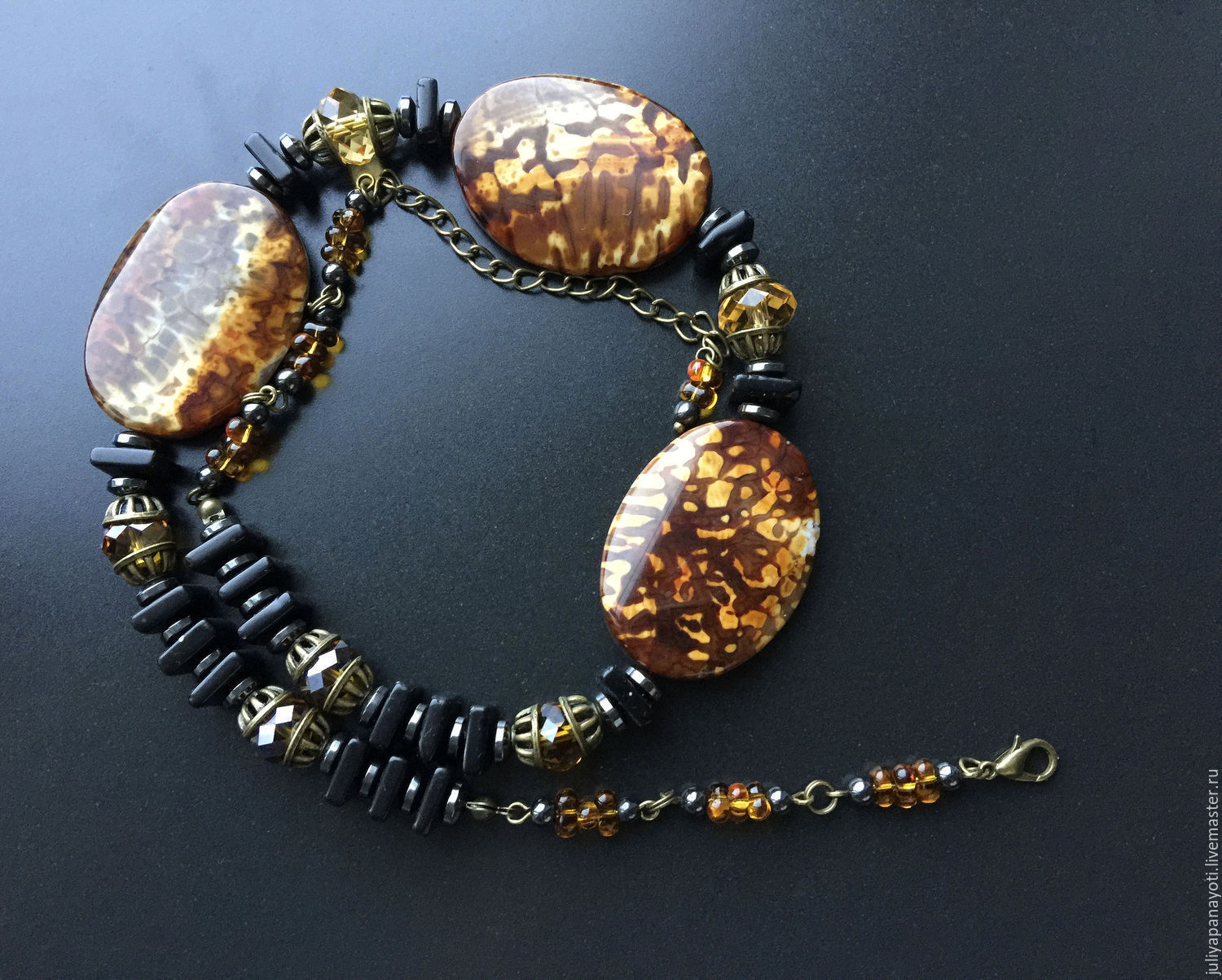 Necklace 'Frangelico Coffee' agate and black onyx, Necklace, Murmansk,  Фото №1