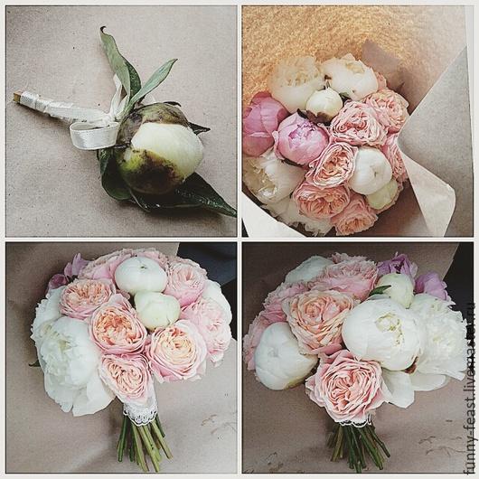 Свадебные цветы ручной работы. Ярмарка Мастеров - ручная работа. Купить Букет невесты из пионов и пионовидных роз. Handmade.