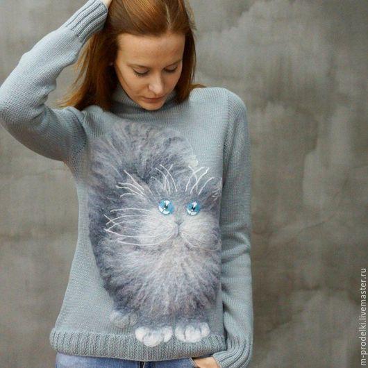 Кофты и свитера ручной работы. Ярмарка Мастеров - ручная работа. Купить Свитер вязаный Cat - 4. Handmade. Серый, оригинальный