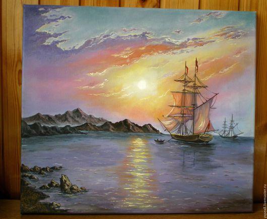"""Пейзаж ручной работы. Ярмарка Мастеров - ручная работа. Купить Картина маслом """"Рассвет на море"""". Handmade. Брусничный, картина в подарок"""