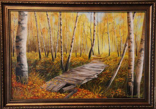 """Пейзаж ручной работы. Ярмарка Мастеров - ручная работа. Купить Картина ручной работы""""Берёзовая роща"""". Handmade. Желтый, оранжевый"""