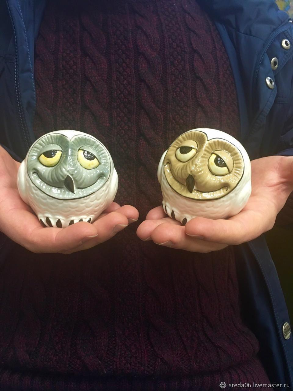 happy owl figurine faience, Figurines, Sergiev Posad,  Фото №1