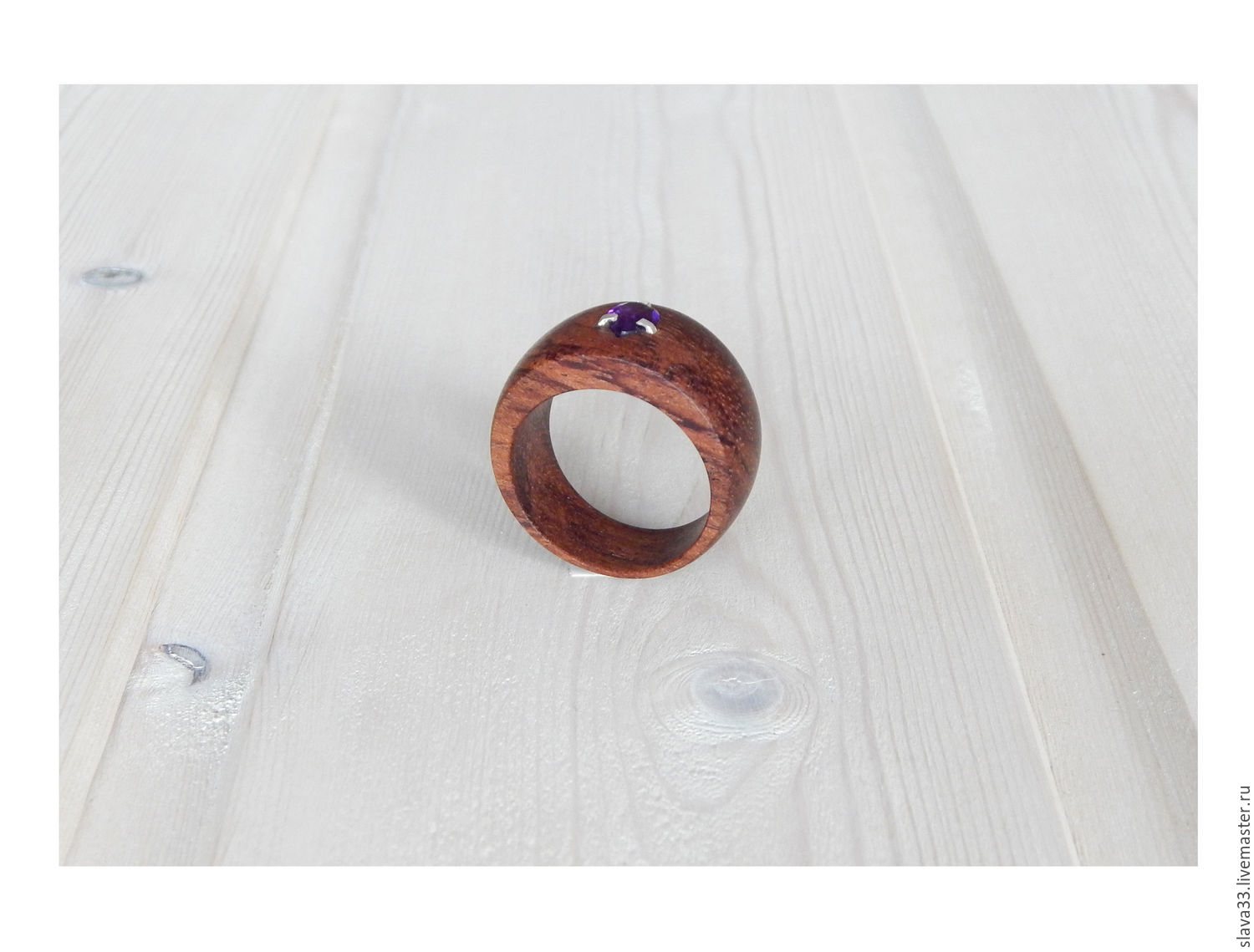 Wooden ring with amethyst, size 19.5, Rings, Vladimir,  Фото №1