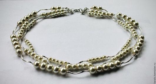 Колье, бусы ручной работы. Ярмарка Мастеров - ручная работа. Купить Ожерелье 3-х рядное с белым жемчугом Майорка. Handmade.