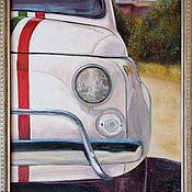 Картины и панно handmade. Livemaster - original item Fiat 500.  Oil painting 30/40. Handmade.