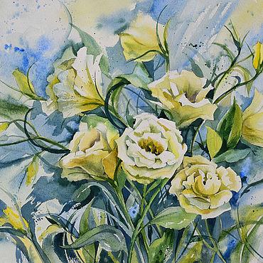 Картины и панно ручной работы. Ярмарка Мастеров - ручная работа Горные розы. Акварель. Картина в голубых тонах. Handmade.
