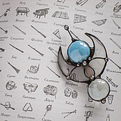 Украшения handmade. Livemaster - original item Pin Starship Dragonfly a stained glass, light Blue Brooch with Moon. Handmade.