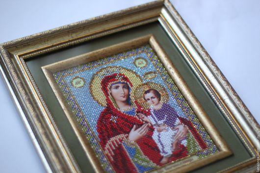 Иконы ручной работы. Ярмарка Мастеров - ручная работа. Купить Божия матерь. Handmade. Икона в подарок, икона бисером