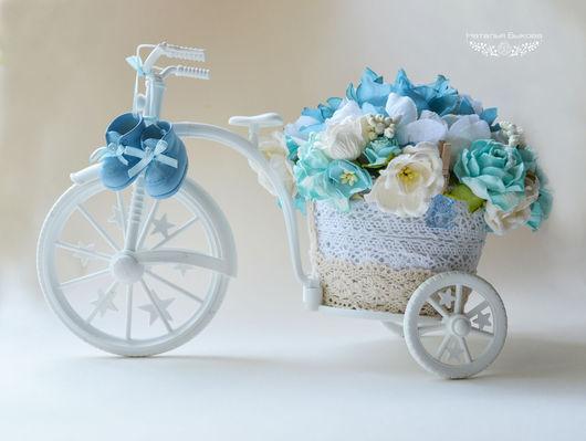 Подарки для новорожденных, ручной работы. Ярмарка Мастеров - ручная работа. Купить Велосипедик интерьерный для новорожденного.. Handmade. Голубой, кашпо велосипед