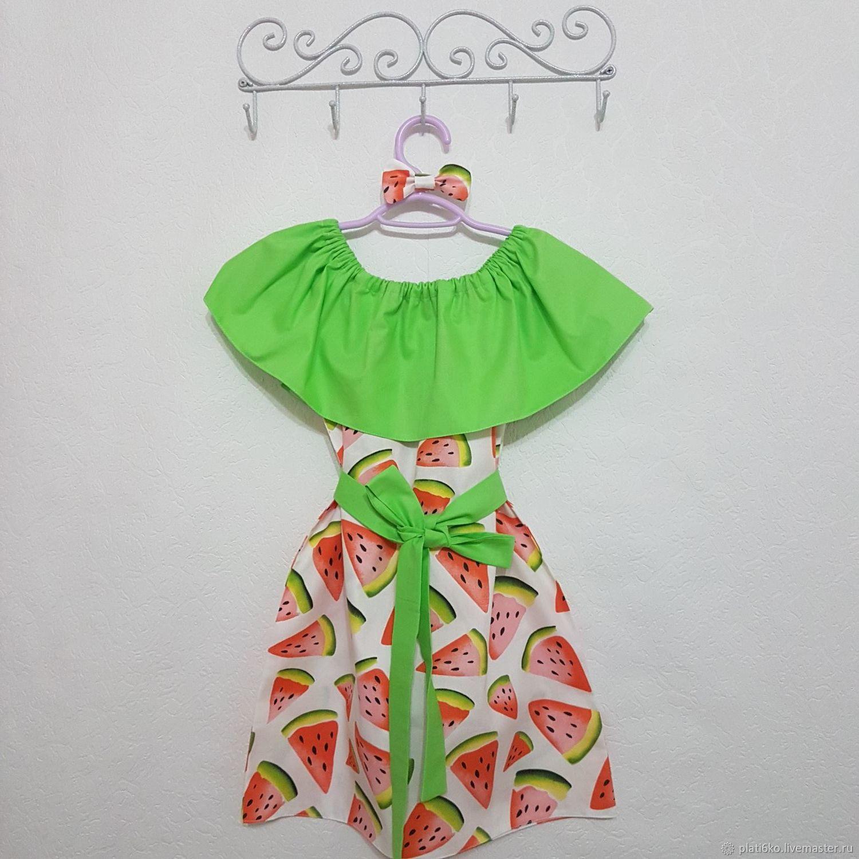 """Одежда для девочек, ручной работы. Ярмарка Мастеров - ручная работа. Купить Детское платье для девочки с воланом из хлопка """"Арбузы"""". Handmade."""