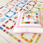 Для дома и интерьера ручной работы. Ярмарка Мастеров - ручная работа Лоскутное детское одеяло Цветик- семицветик. Handmade.