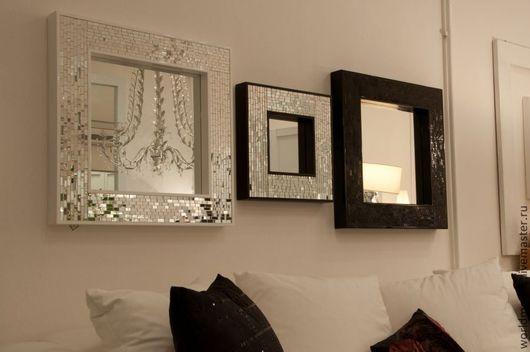 Зеркала ручной работы. Ярмарка Мастеров - ручная работа. Купить Зеркала в мозаичной раме, квадратные. Handmade. Чёрно-белый
