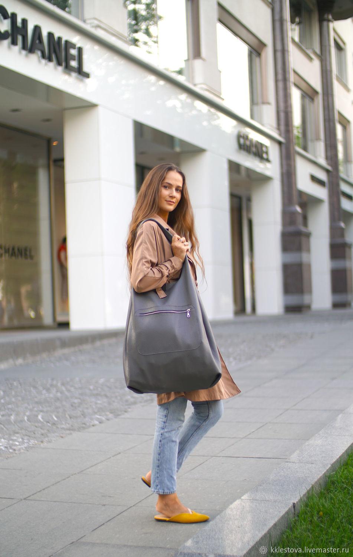Bag large leather shopper bag shopper Bag t-shirt Bag, String bag, Moscow,  Фото №1