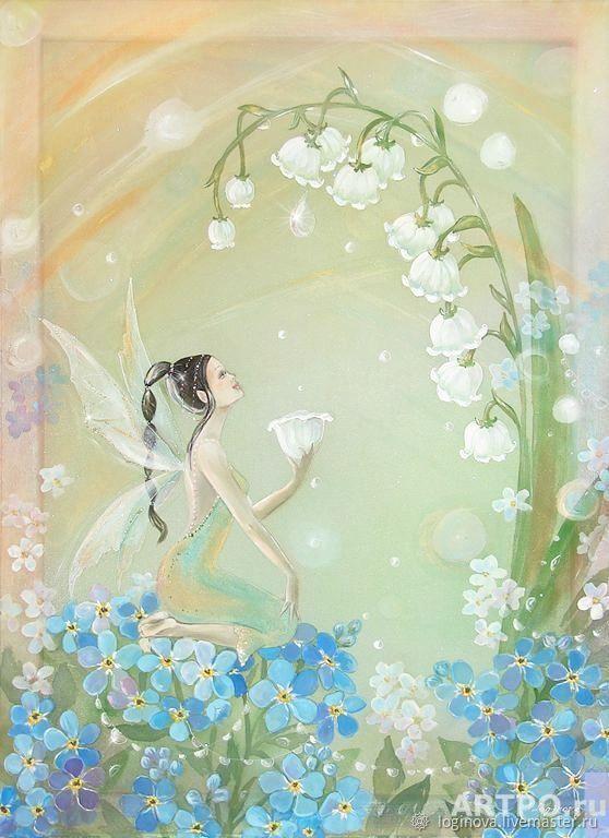Картина на шёлке с цветами, картина в детскую, Картины, Находка,  Фото №1
