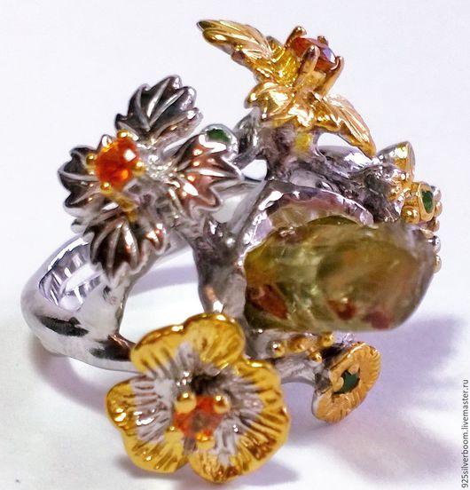 """Кольца ручной работы. Ярмарка Мастеров - ручная работа. Купить Эксклюзив! Кольцо """"Гальциона"""", нат. Турмалин, Сапфиры, серебро 925. Handmade."""