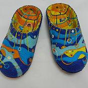 """Обувь ручной работы. Ярмарка Мастеров - ручная работа Тапки валяные домашние """"Море-солнце"""". Handmade."""
