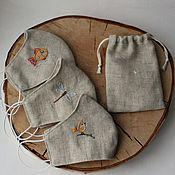 Аксессуары handmade. Livemaster - original item Children`s protective mask made of linen with hand embroidery.. Handmade.