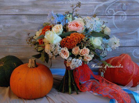 """Свадебные цветы ручной работы. Ярмарка Мастеров - ручная работа. Купить Букет невесты """"Сочная осень"""". Handmade. Оранжевый"""